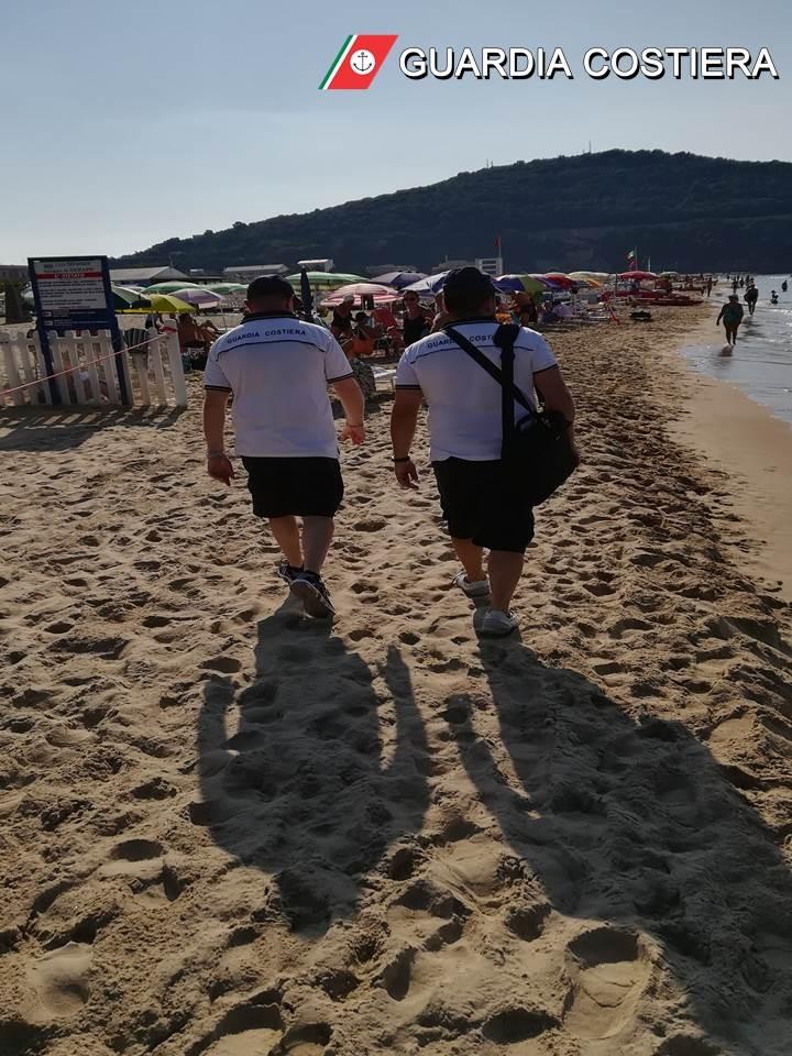 foto-1-cs-in-data-27969122530. Guardia Costiera: Gaeta Spiaggia di Serapo continua l'attività di contrasto alla preventiva abusiva occupazione delle spiagge libere - Controlli e sanzioni